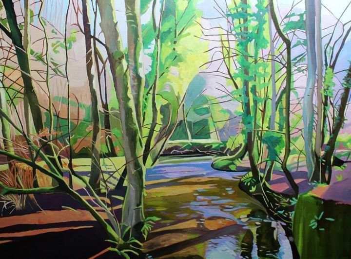 View From The Bridge - Painting,  73x100x2 cm ©2019 by Emma Cownie -                                                            Impressionism, Canvas, Landscape, wales, gower, parkmill, woodland, trees