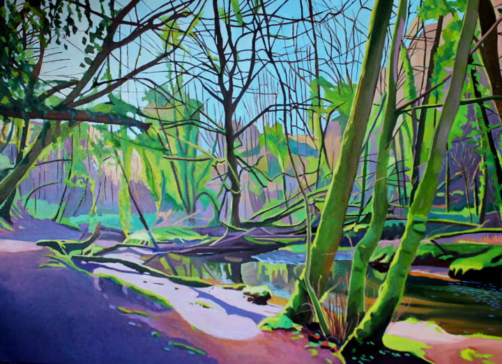 The Middle Wood - Painting,  73x100x2 cm ©2019 by Emma Cownie -                                            Impressionism, Landscape, wood, wales, gower, trees, stream, river, emma cownie, artmajeur