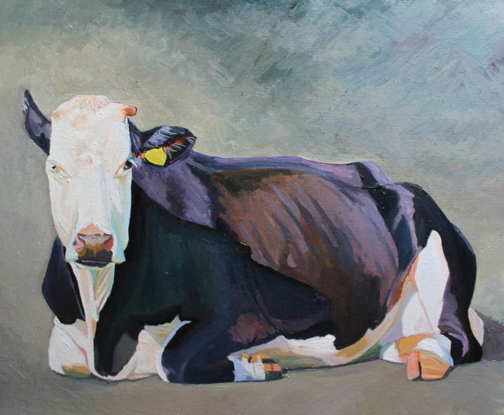 The Sitting - Painting ©2019 by Emma Cownie -                                            Impressionism, Animals, cow, portrait, emma cownie, artmajeur