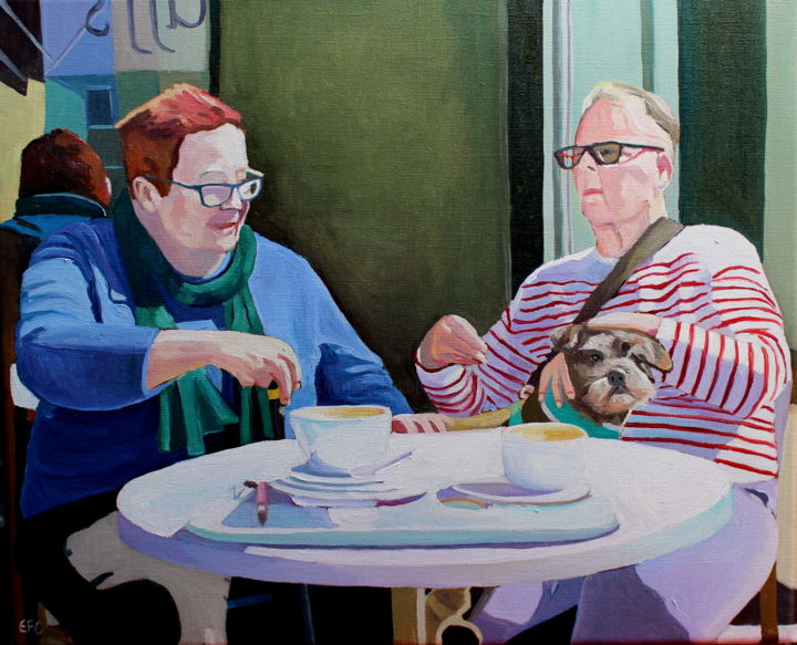 Table For Three - Painting,  38x46x2 cm ©2019 by Emma Cownie -                                                        Impressionism, Dogs, People, dog, people, portraits, oil, painting, emma cownie, artmajeur