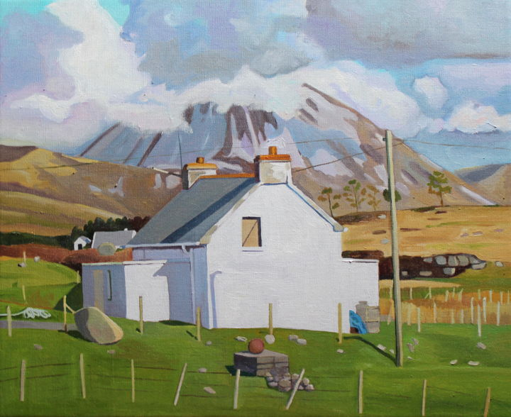 Near Dunmore Strand - Painting,  15x18.1x0.8 in ©2019 by Emma Cownie -                                            Impressionism, Landscape, Ireland, Donegal, Irish, Landscape, Mountain, Mount Errigal, Gweedore, Clouds, Sky, Green, Grey, Cloudscape, Light, Shadows