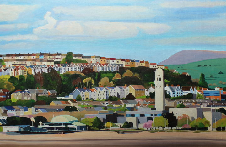 Swansea from the Beach Revisited - Painting,  19.7x29.9x0.8 in, ©2020 by Emma Cownie -                                                                                                                                                                                                                                                                                                                                                                                                                                                      Naive Art, naive-art-948, Architecture, Landscape, Swansea, City, Buildings, Dylan Thomas, Gower