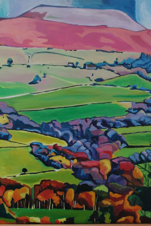 Above Crickhowell, Wales - Painting,  31.5x23.6x0.8 in, ©2015 by Emma Cownie -                                                                                                                                                                                                                                                                                                                                                                                                                                                                                                  Impressionism, impressionism-603, Landscape, Crickhowell, Black Mountains, Brecon, Brecon Beacons, Wales, Welsh Landscape, Welsh Mountain