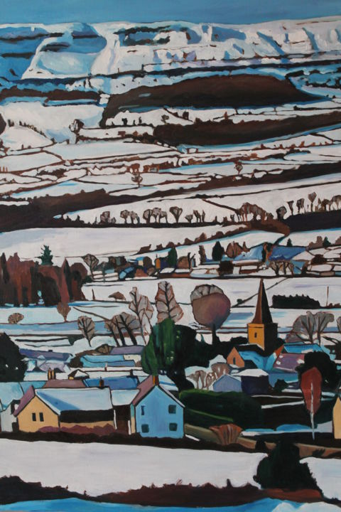 Cric in the Snow (Crickhowell, Wales) - Painting,  31.5x23.6x0.8 in, ©2013 by Emma Cownie -