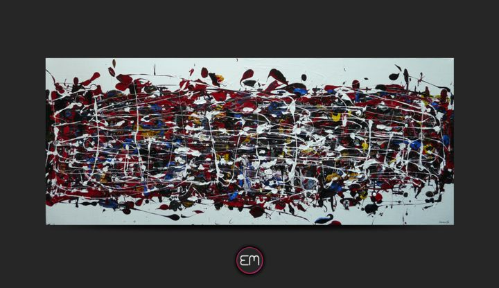 Toile acrylique 120x50 emma-m00044 - Expressionnisme abstrait - Painting,  1.2x47.2x19.7 in, ©2015 by Emma M. -                                                                                                                                                                                                                                                                                                                                                                                                                                                                                                                                              Abstract, abstract-570, Abstract Art, art, abstrait, expressionnisme, peinture, acrylique, blanc, multicolore, projections