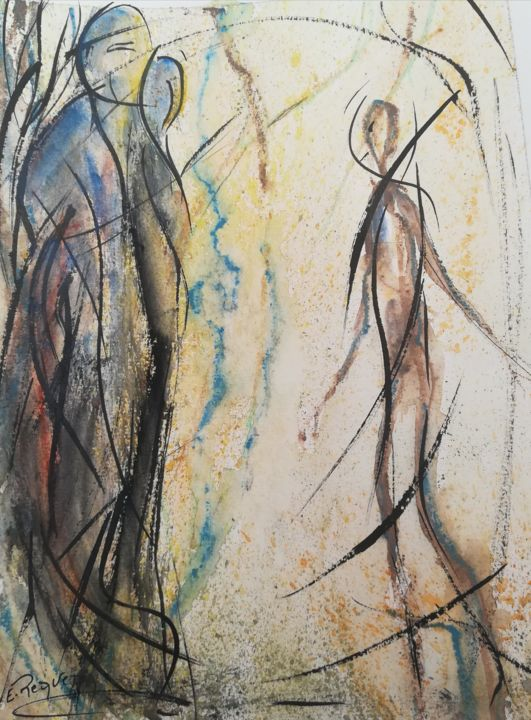 Aquarelle101625 - Painting,  9.1x6.7 in ©2019 by Emma Requena -                            Abstract Art, Aquarelle, peinture abstraite