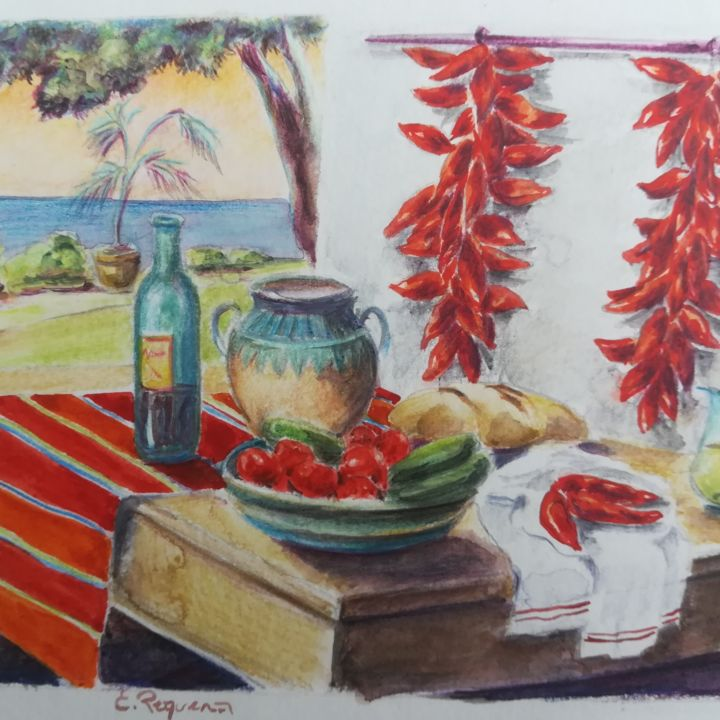 Les piments - Painting,  16x22x0.1 cm ©2015 by Emma Requena -                                            Figurative Art, Still life, aquarelle originale, emma Requena, paysage, pays basque, piments d'Espelette, artmajeur