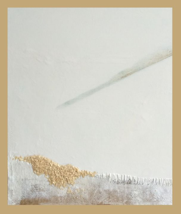 Pensée blanche - Textile Art,  15.8x11.8x1.2 in, ©2014 by Emma Lapassouze -                                                                                                                          Abstract, abstract-570