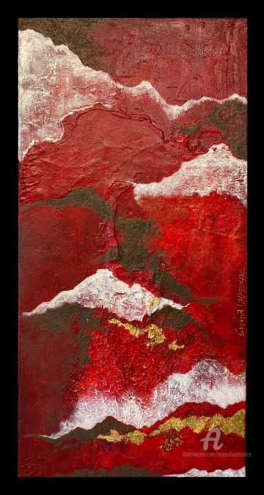De Rouge & d'Or - Painting,  31.5x15.8x1.2 in, ©2018 by Emma Lapassouze -                                                                                                                                                                                                                                                                                                                                                                                                          Abstract, abstract-570, Body, Outer Space, Colors, abstraction, acrylique, matière