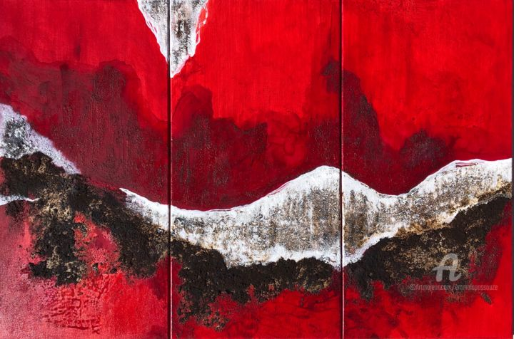 Triptyque Rouge & Blanc - Painting,  31.5x47.2 in, ©2020 by Emma Lapassouze -                                                                                                                                                                                                                                                                                                                                                              Abstract, abstract-570, Outer Space, Landscape, peinture abstraite, paysage abstrait, emma lapassouze