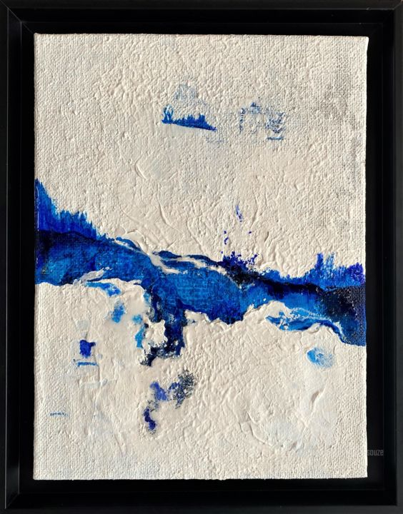 Vibration aquatique - Painting,  15.8x11.8x1.2 in, ©2020 by Emma Lapassouze -                                                                                                                                                                                                                                                                  Abstract, abstract-570, Outer Space, Water, Nature