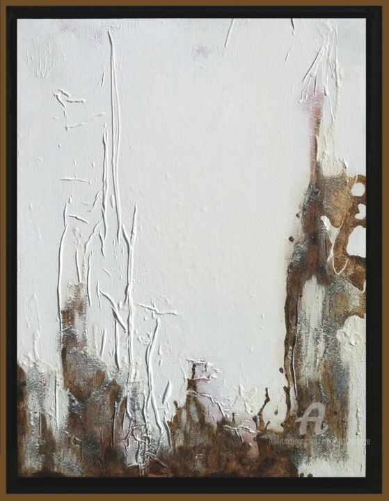 Blanc Froissé - Painting,  45.7x35x1.2 in, ©2010 by Emma Lapassouze -                                                                                                                                                                                                                                                                                                                                                              Abstract, abstract-570, Spirituality, Outer Space, abstraction, matière, acrylique
