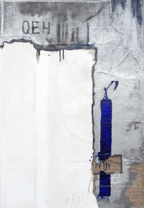 Bleu soufré - Painting,  45.7x35x0.8 in, ©2012 by Emma Lapassouze -                                                                                                                                                                                                                      Abstract, abstract-570, Fabric, Canvas