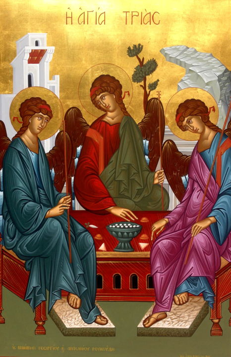 The Holy Trinity Painting by emmanouel roukoudis   Artmajeur
