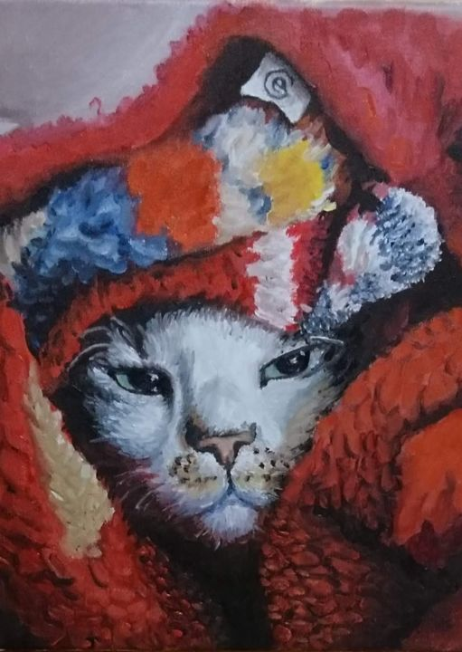cat-inred.jpg - Painting ©2018 by Emmanuel Groult -