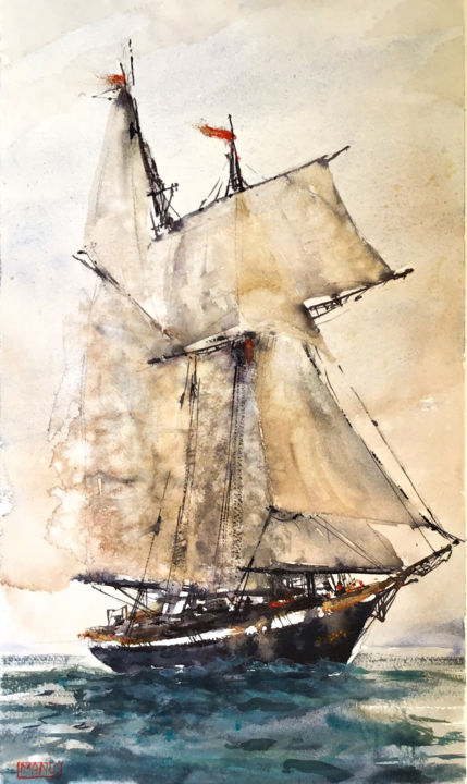 Voilier - sailing ship - Painting,  18.5x11 in, ©2019 by Emmanuele Cammarano -                                                                                                                                                                                                                                                                                                                                                                                                                                                                                                                                                                                                                                      Impressionism, impressionism-603, Water, Sailboat, Seascape, veliero, voilier, clipper, sailboat, sailing ship, barca, mer, seascape
