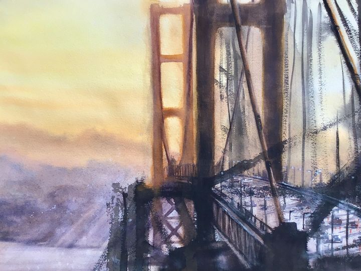 golden gate - Painting,  19.7x27.6 in, ©2015 by Emmanuele Cammarano -                                                                                                                                                                                                                                                                                                                                                                                                                                                                                                                                                                                                                                                                                                                                                                          Impressionism, impressionism-603, Cities, Cityscape, Light, Places, Landscape, goldengate, golden gate, lumiere, america, bridge, ponte, landscape, urban, building