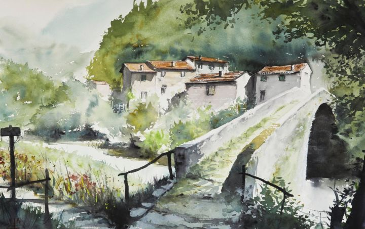 Ancient watermill in Val Sanagra, Italy - Painting,  15x22.4 in, ©2015 by Emmanuele Cammarano -                                                                                                                                                                                                                                                                                                                                                                                                                                                                                                                                                                                          Figurative, figurative-594, Landscape, ManueleArt, Italy, rural landscape, Val Sanagra, watermill, old town, nature, Emmanuele Cammarano, watercolor