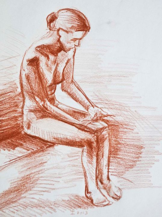 Woman (famous pose) - Drawing, ©2014 by Emmanuele Cammarano -                                                              Nude