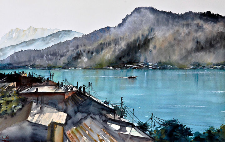 mountain view from Morcote - Painting,  12.6x20.5 in, ©2014 by Emmanuele Cammarano -                                                                                                                                                                                                                                                                                                                  Impressionism, impressionism-603, Landscape, morcote, lake, mountains