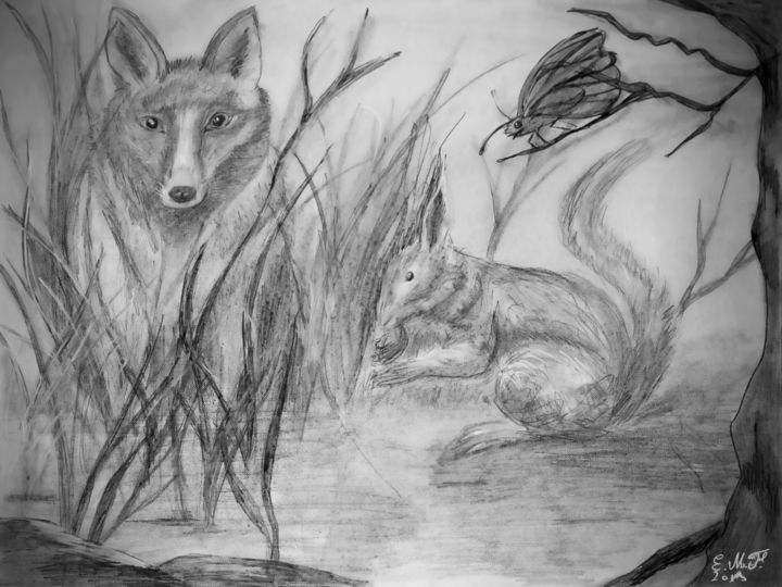 gare au renard - Drawing,  11.8x15.8 in, ©2019 by Emmanuelle Menny Fleuridas -                                                                                                                                                                                                                                                                                                                                                                                                                                                                                                                                              Figurative, figurative-594, Animals, Nature, renard, écureuil, papillon, nature, betterfly, fox, squirrel