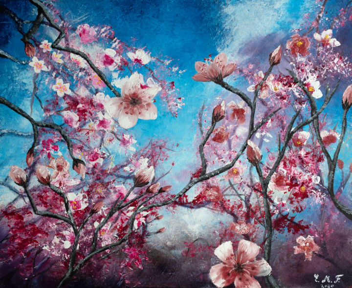 The cherry tree - © 2020 oil, huile, peinture, painting, cherry, cerisier, abstract, abstrait, figuratif, cotedazur, artiste, cotedazurfrance, art Œuvres-d'art en ligne