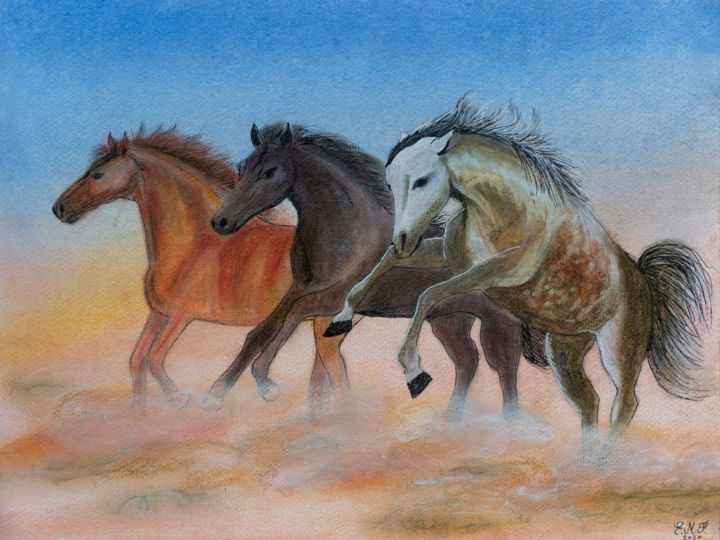 United colors - © 2020 dessin, drawing, horse, cheval, nature, sauvage, wild, animal, UnJourUnDessin Œuvres-d'art en ligne