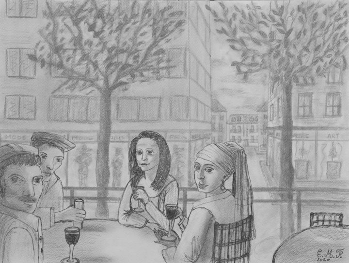 Enjoying a break at a local bar - Dessin,  12,2x16,1 in, ©2020 par Emmanuelle Menny Fleuridas -                                                                                                                                                                                                                                                                                                                                                              Naive Art, naive-art-948, Personnes, artwork_cat.Cities, dessin, drawing, pencil