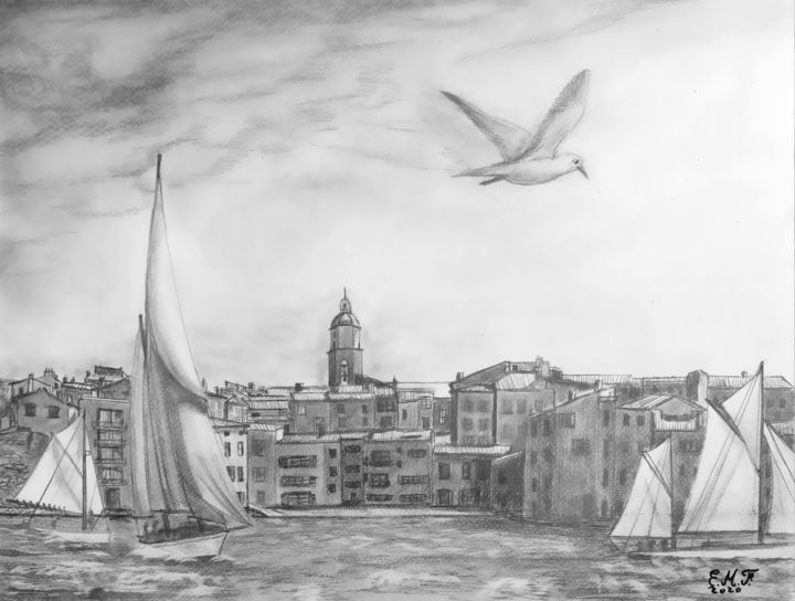 Les Voiles de Saint Tropez - Drawing,  12.2x16.1 in, ©2020 by Emmanuelle Menny Fleuridas -                                                                                                                                                                                                                                                                                                                                                                                                                                                      Figurative, figurative-594, Sailboat, Seascape, Cities, dessin, drawing, pencil, crayon