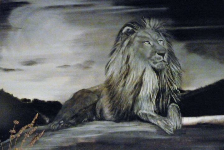 p1040052.jpg - Painting,  70x90x2 cm ©2018 by ANGE -                                                                Cotton, Canvas, Animals, Black and White