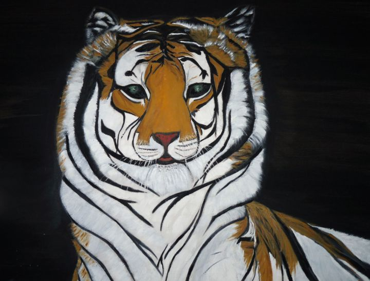 p1040068-2.jpg - Painting,  60x72x2 cm ©2017 by ANGE -                                                                            Cotton, Canvas, Animals, Asia, Fantasy