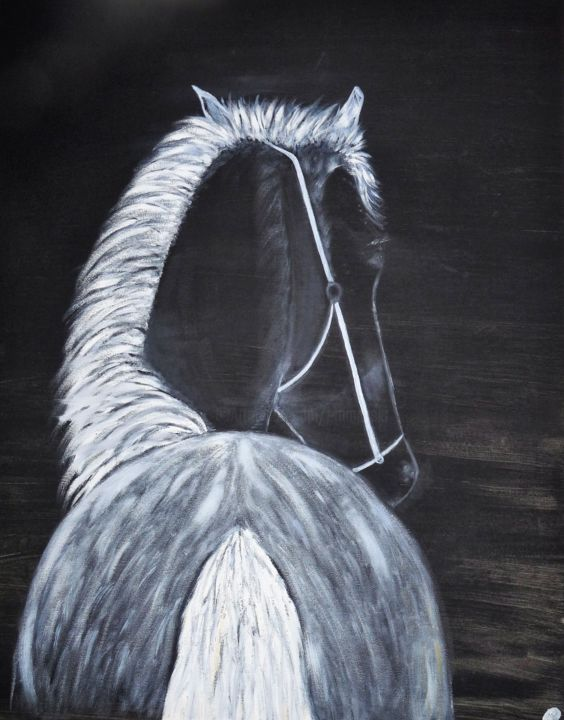p1040080.jpg - Painting,  81x65x2 cm ©2018 by ANGE -                                                                            Cotton, Canvas, Animals, Horses, Black and White