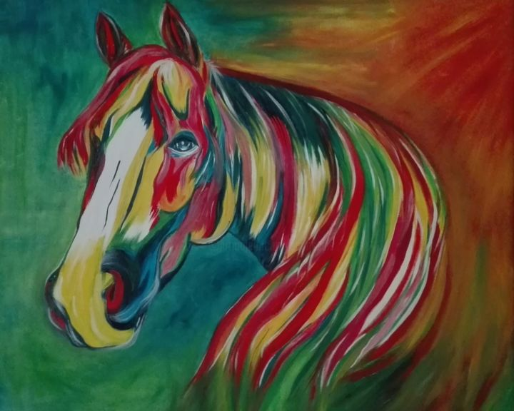 img-20180520-130213.jpg - Painting ©2018 by ANGE -                                                                            Cotton, Canvas, Animals, Horses, Colors