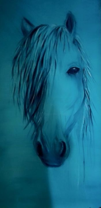 19990468-1049271805208847-3976267662826813864-n.jpg - Painting,  100x50 cm ©2018 by ANGE -                                                                            Cotton, Canvas, Animals, Horses, Colors