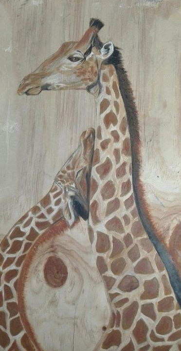 60341428-2233846250027071-8818420194947891200-n.jpg - Painting,  64x33 cm ©2019 by ANGE -                                                    Wood, Love / Romance, Animals
