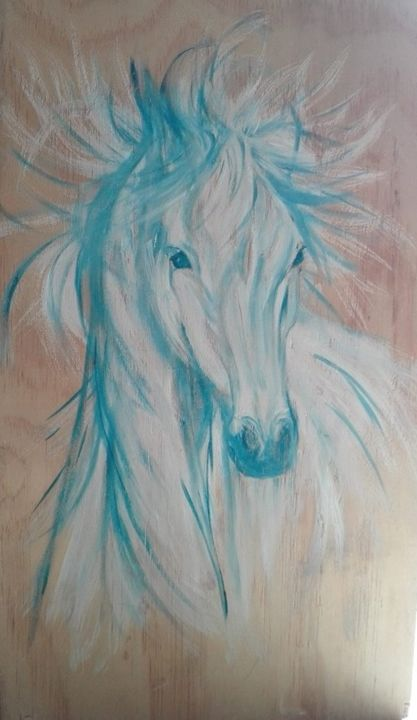 60432374-2233845780027118-1572594806482272256-n.jpg - Painting,  64x33 cm ©2019 by ANGE -                                                    Wood, Animals, Horses