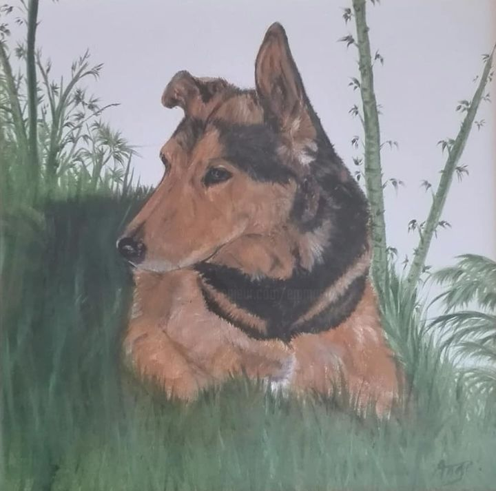 43163326-1364473590355332-2703534904691392512-n.jpg - Painting ©2018 by ANGE -                                                                                            Portraiture, Realism, Cotton, Canvas, Animals, Dogs