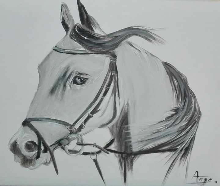 43271732-1364473640355327-8360266855138459648-n.jpg - Painting ©2019 by ANGE -                                                                            Cotton, Canvas, Animals, Horses, Black and White