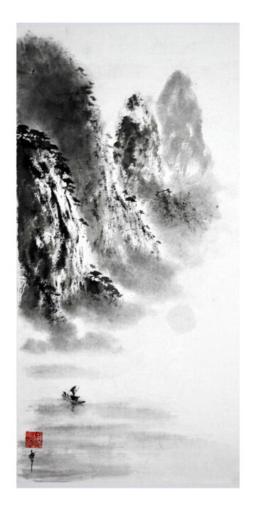"""Painting titled """"Pêcheur aux cormora…"""" by Jean-Marc Moschetti (encre-zen), Original Art, Ink Mounted on Stretcher frame"""