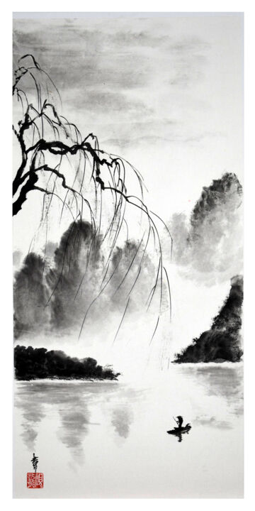 """Painting titled """"Le saule et le pêch…"""" by Jean-Marc Moschetti (encre-zen), Original Art, Ink Mounted on Stretcher frame"""