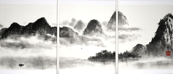 """Painting titled """"Paysage de Chine (t…"""" by Jean-Marc Moschetti (encre-zen), Original Art, Ink Mounted on Stretcher frame"""