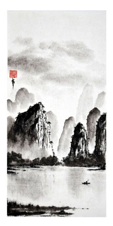 """Painting titled """"Cet espace qu'empli…"""" by Jean-Marc Moschetti (encre-zen), Original Art, Ink Mounted on Stretcher frame"""