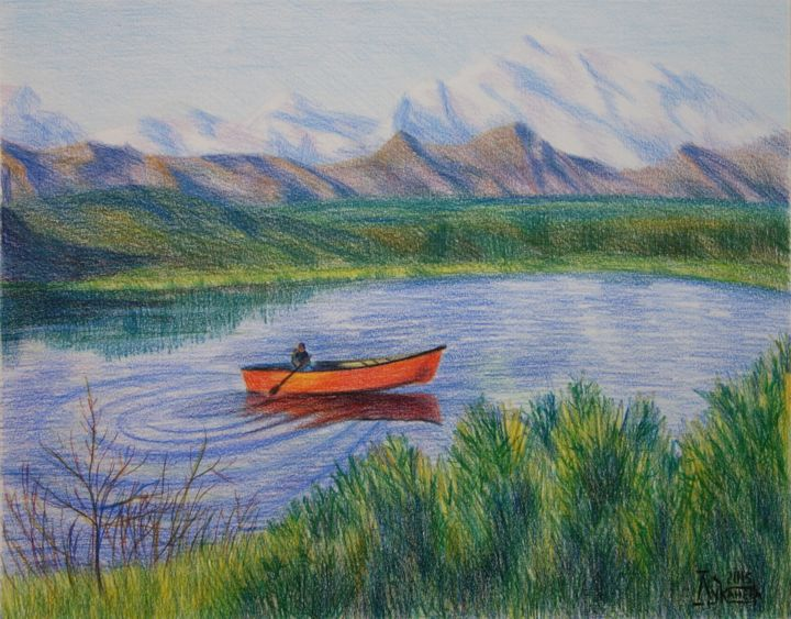 Landscape with the Red Boat - Drawing,  15.8x19.7 in, ©2015 by Larissa Lukaneva -                                                                                                                                                                                                      Landscape, castle, forest, lake