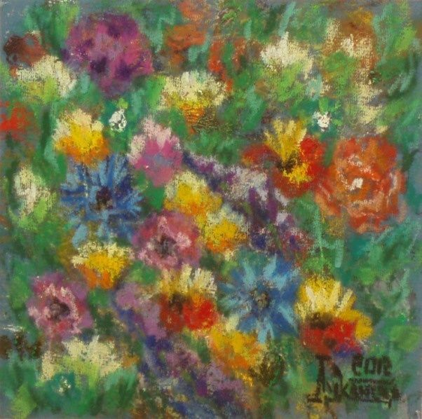Scent of Summer (7) - Drawing,  25x25 cm ©2012 by Larissa Lukaneva -                            Colors, flower