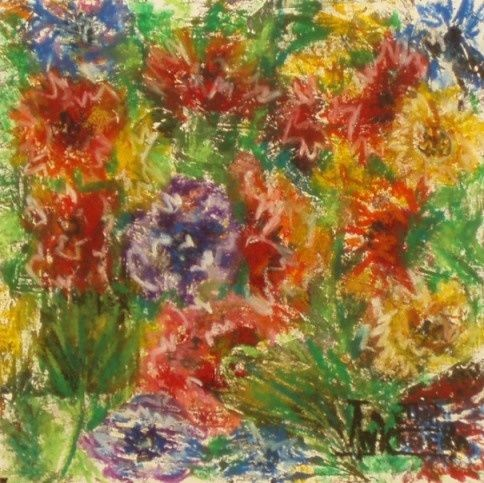 Scent of Summer (8) - Drawing,  25x25 cm ©2012 by Larissa Lukaneva -                            Colors, flower, summer