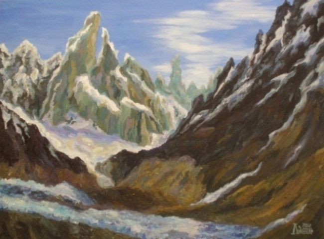 Snow-Covered Mountains - Painting,  80x60 cm ©2012 by Larissa Lukaneva -                            Realism, mountain, sky, cloud, snow