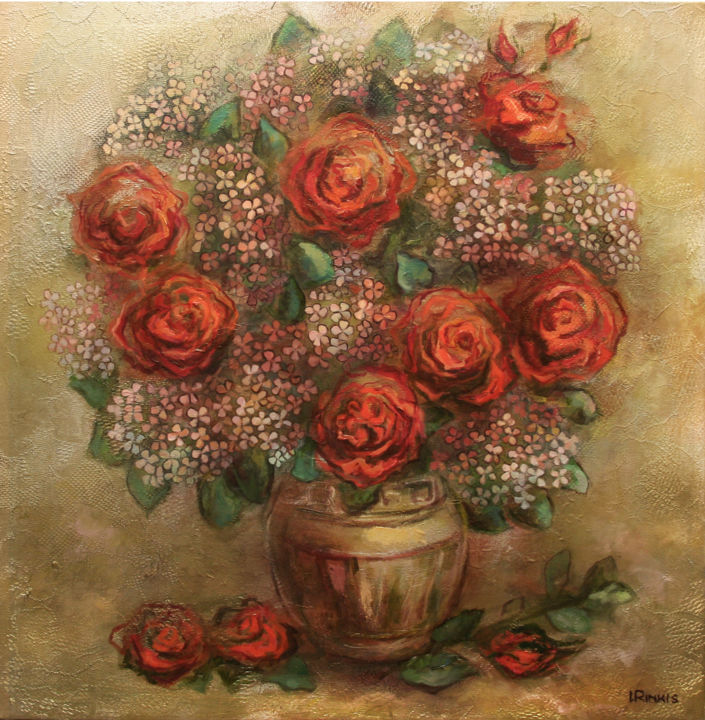 """Painting titled """"AUTUMN FLOWERS"""" by Ilgonis Rinkis, Original Art, Oil"""
