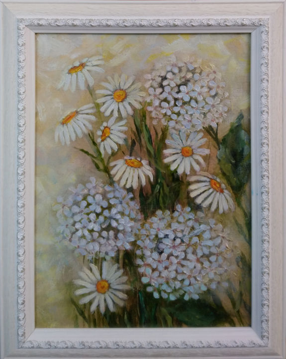 """Painting titled """"WHITE FLOWERS"""" by Ilgonis Rinkis, Original Art, Oil"""