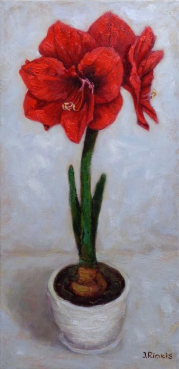 """Painting titled """"RED AMARILLIS"""" by Ilgonis Rinkis, Original Art, Oil"""