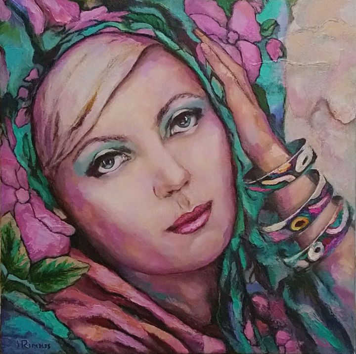 """Painting titled """"WOMAN IN A SCARF WI…"""" by Ilgonis Rinkis, Original Art, Oil"""